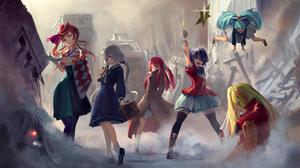 Zombieland Saga Anime Girls Zombie 0 Tae Yamada Zombie 1 Sakura Minamoto Zombie 2 Saki Nikaidou Zomb 4209x2976 Wallpaper