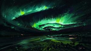 Green Green Background Aurora Artwork Digital Art BisBiswas 1920x1080 Wallpaper