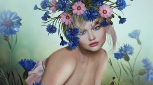 Artistic Blue Eyes Fantasy Flower Girl Lipstick Woman 1920x1277 Wallpaper