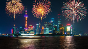 City Fireworks Shanghai 3840x2400 wallpaper