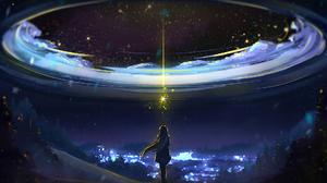 Artwork Women Anime Girls Anime Sky Digital 1920x1080 wallpaper
