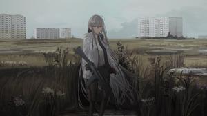 Long Hair Firearm White Hair Gun Grey Eyes 2500x1250 Wallpaper