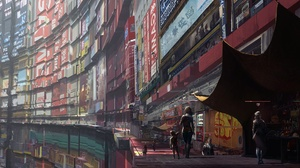 Cyberpunk Futuristic People 2480x1100 wallpaper