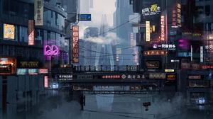 China Cyberpunk Cityscape Neon Sign 2931x1200 Wallpaper