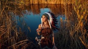 Depth Of Field Dreamcatcher Feather Girl Headdress Model Native American Redhead Woman 2560x1373 Wallpaper