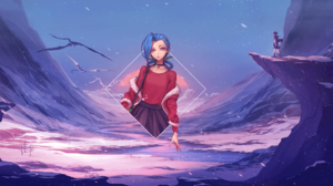 League Of Legends Jinx League Of Legends Anime Anime Girls Video Games PC Gaming Snow Digital Art Pi 1920x1080 Wallpaper
