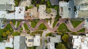 Landscape Trees Highway Road Building Top View Car Street San Francisco California USA 3000x1575 Wallpaper