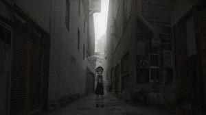 Hatoba Tsugu Brunette School Uniform Umbrella Rain Anime Girls Alleyway Building Short Hair 6000x3000 Wallpaper