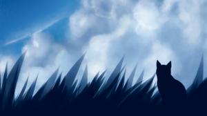 Clouds Cats Grass Sky Space Digital Blue 1920x1080 Wallpaper