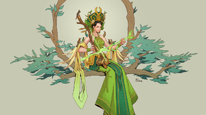 Anh Dang Artwork Women Fantasy Art Fantasy Girl Simple Background Dress Green Dress Dark Hair Sittin 1920x1738 Wallpaper