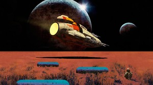 Artwork Painting Science Fiction Space Robot Ship Planet 1920x1200 Wallpaper