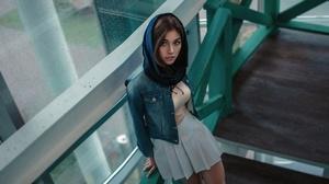 Model Women Standing Women Outdoors Hijab Skirt Pleated Skirt Denim Jacket 2000x1125 Wallpaper