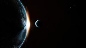 Space Space Art Moon Earth Sunlight Planet 5146x2894 Wallpaper