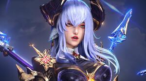 Xiao Yu Artwork Digital Art Women Fantasy Art Fantasy Girl Horns Long Hair Red Lipstick Fantasy Armo 1920x1920 Wallpaper