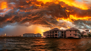 Sunset Storm Sky Clouds Water Urban Photography HDR Sun City Outdoors 2500x1358 Wallpaper