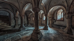 Architecture Building Arch Interior Stairs Medieval Gothic Column Stones 1920x1080 Wallpaper