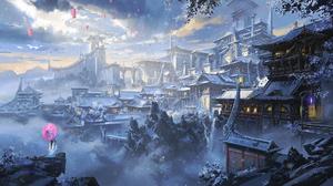 Building City Snow 2063x1080 Wallpaper