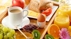 Coffee Fruit Juice Honey Cup Egg Kiwi Jam Cheese 7360x4913 Wallpaper