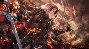 Jeanne D 039 Arc Alter Sword Woman Warrior Dragon Flame Avenger Fate Grand Order Fire Short Hair Whi 3200x1800 wallpaper