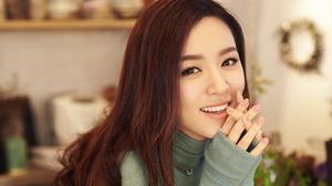 Women Smile Asian Depth Of Field Pullover Rings Necklace Painted Nails Long Hair Brunette Shelves 1920x1080 Wallpaper