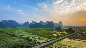 Landscape Photography Nature Field Mountains Sunset Road Clouds Village Guilin China Rice Paddy 1719x1117 Wallpaper