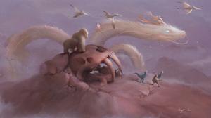 Dinosaur Dragon Gorilla 3840x2159 Wallpaper