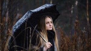 Women Blonde Looking Into The Distance Rain Umbrella Women Outdoors Coats Black Coat Overcoats Women 2560x1704 Wallpaper