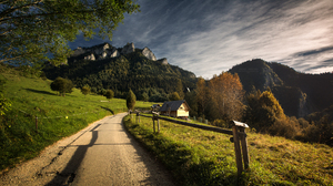 Path Fence Trees Mountains Building Grass Sky Clouds Ukasz Forest Fall Nature Outdoors Photography 2048x1304 Wallpaper