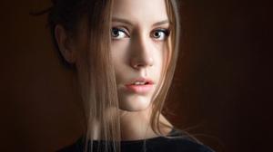 Alexey Kishechkin Women Ksenia Kokoreva Brunette Portrait Black Clothing Makeup Looking At Viewer Si 2160x2160 Wallpaper