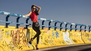 Black Hair Girl High Heels Model Sunglasses Woman 2048x1365 Wallpaper