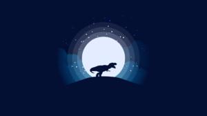 Dinosaur Hill Moon Night 1920x1080 Wallpaper