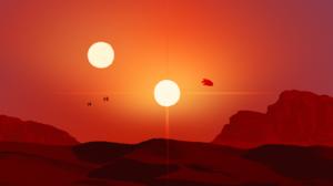 Minimalism Portrait Display Star Wars The Force Awakens Desert Jakku Rey Suns Sunset Shadow Millenni 1600x2560 wallpaper