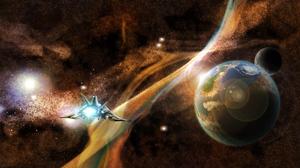 Planet Space Spaceship Stars 2000x1000 Wallpaper