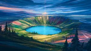 Digital Painting Landscape Sky Lake Aenami 1920x1080 wallpaper