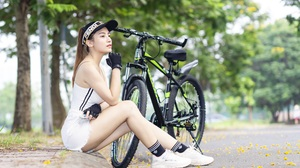 Asian Model Women Long Hair Dark Hair Depth Of Field Sneakers Shorts Bicycle Trees Ponytail Gloves S 4940x3070 Wallpaper