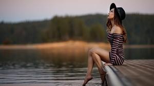 Woman Model Depth Of Field Hat Dress Brunette Mood 2000x1333 Wallpaper