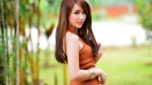 Asian Brunette Depth Of Field Girl Model Orange Dress Woman 2048x1367 Wallpaper