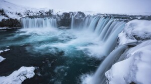 Ice Water Nature Waterfall Iceland Snow Winter 1920x1080 Wallpaper