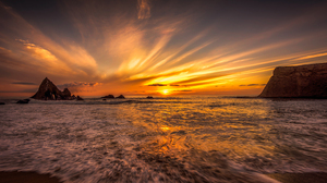 Beach Earth Golden Horizon Ocean Rock Sea Sky Sunset 2560x1600 Wallpaper