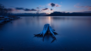 Cloud Lake Mountain Night Snow Sunset Winter 3840x2160 Wallpaper