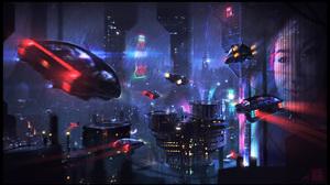 Building City Cyberpunk Cityscape Futuristic Night Rain Vehicle 3840x2193 Wallpaper