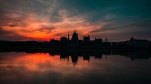 Danube Evening Hungarian Parliament Building Hungary Reflection River Sunset 7360x4912 Wallpaper