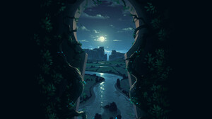 Artwork Nature Night River Keyhole 1920x1920 Wallpaper