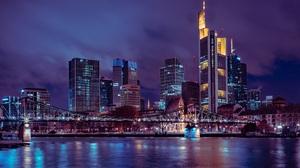 Germany Night Bridge City Skyscraper 7678x5157 Wallpaper