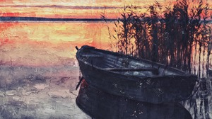 Boat Painting Sunset 1920x1448 Wallpaper