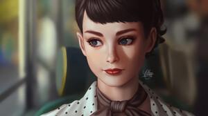 Artwork Digital Art Yellow Lemon Cat Women Audrey Hepburn Portrait Face Short Hair 3000x1897 Wallpaper