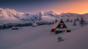 Winter Snow Snow Covered Forest Trees House Lights Sunset Sky Tomasz Rojek 1920x1080 Wallpaper