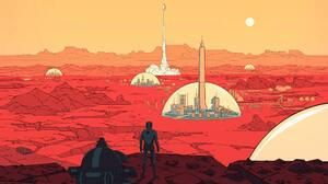 Planet Spaceship Astronaut Red Take Off Crater Surviving Mars 3840x2160 Wallpaper