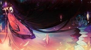 Anime Anime Girls Dark Hair Long Hair Sword Magic Crystal Stars Fantasy Girl Red Dress Chyan 4000x2226 Wallpaper