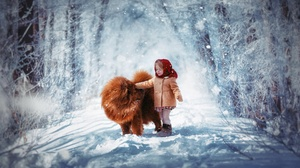 Child Chow Chow Cute Dog Little Girl Road Snow Winter 1920x1200 Wallpaper